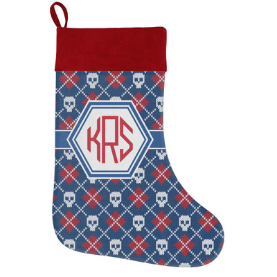Knitted Argyle & Skulls Holiday / Christmas Stocking (Personalized)