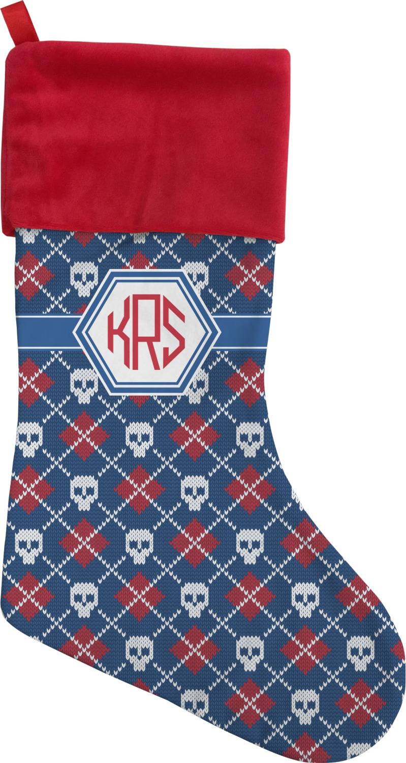 knitted argyle skulls christmas stocking personalized
