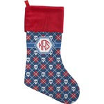 Knitted Argyle & Skulls Christmas Stocking (Personalized)