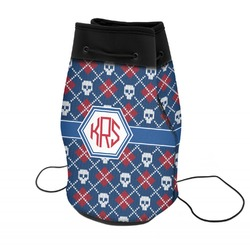 Knitted Argyle & Skulls Neoprene Drawstring Backpack (Personalized)