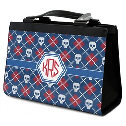 Knitted Argyle & Skulls Classic Tote Purse w/ Leather Trim (Personalized)