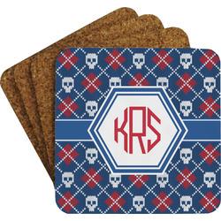 Knitted Argyle & Skulls Coaster Set (Personalized)