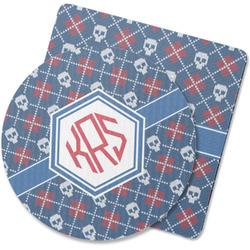 Knitted Argyle & Skulls Rubber Backed Coaster (Personalized)