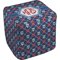 Knitted Argyle & Skulls Cube Pouf Ottoman (Personalized)