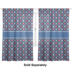 "Knitted Argyle & Skulls Curtains - 20""x84"" Panels - Lined (2 Panels Per Set) (Personalized)"