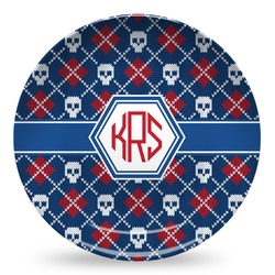 Knitted Argyle & Skulls Microwave Safe Plastic Plate - Composite Polymer (Personalized)