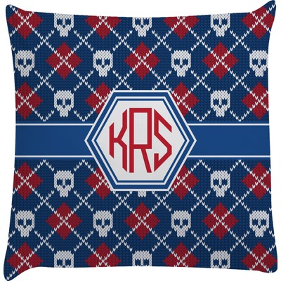 Knitted Argyle & Skulls Decorative Pillow Case (Personalized)