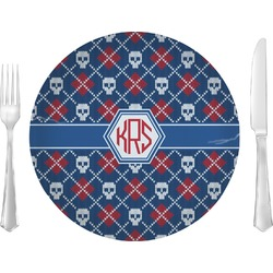 "Knitted Argyle & Skulls Glass Lunch / Dinner Plates 10"" - Single or Set (Personalized)"