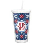 Knitted Argyle & Skulls Double Wall Tumbler with Straw (Personalized)