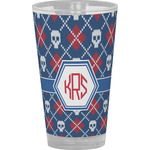 Knitted Argyle & Skulls Drinking / Pint Glass (Personalized)