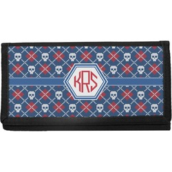 Knitted Argyle & Skulls Canvas Checkbook Cover (Personalized)