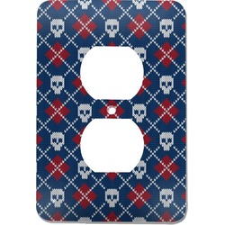Knitted Argyle & Skulls Electric Outlet Plate (Personalized)