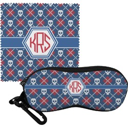 Knitted Argyle & Skulls Eyeglass Case & Cloth (Personalized)