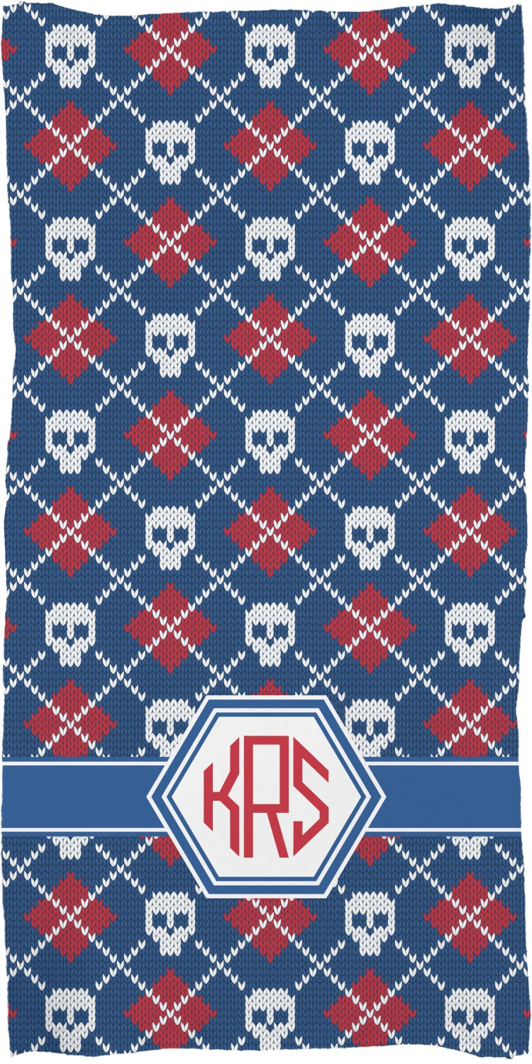 Knitted Argyle & Skulls Full Print Bath Towel (Personalized ...