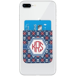 Knitted Argyle & Skulls Genuine Leather Adhesive Phone Wallet (Personalized)