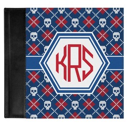 Knitted Argyle & Skulls Genuine Leather Baby Memory Book (Personalized)