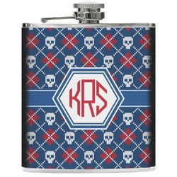 Knitted Argyle & Skulls Genuine Leather Flask (Personalized)