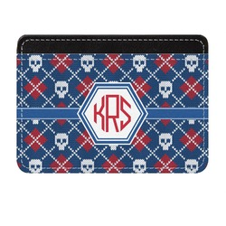 Knitted Argyle & Skulls Genuine Leather Front Pocket Wallet (Personalized)