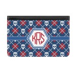Knitted Argyle & Skulls Genuine Leather ID & Card Wallet - Slim Style (Personalized)