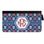 Knitted Argyle & Skulls Genuine Leather Ladies Zippered Wallet (Personalized)