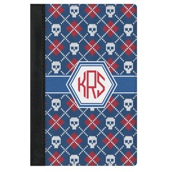 Knitted Argyle & Skulls Genuine Leather Passport Cover (Personalized)