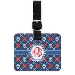 Knitted Argyle & Skulls Genuine Leather Rectangular  Luggage Tag (Personalized)