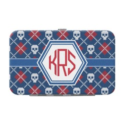 Knitted Argyle & Skulls Genuine Leather Small Framed Wallet (Personalized)