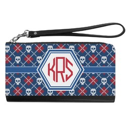Knitted Argyle & Skulls Genuine Leather Smartphone Wrist Wallet (Personalized)