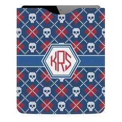 Knitted Argyle & Skulls Genuine Leather iPad Sleeve (Personalized)