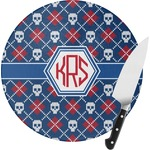 Knitted Argyle & Skulls Round Glass Cutting Board (Personalized)