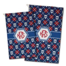Knitted Argyle & Skulls Golf Towel - Full Print w/ Monogram