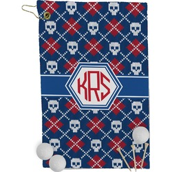 Knitted Argyle & Skulls Golf Towel - Full Print (Personalized)