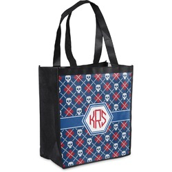Knitted Argyle & Skulls Grocery Bag (Personalized)