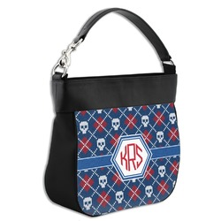 Knitted Argyle & Skulls Hobo Purse w/ Genuine Leather Trim (Personalized)