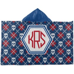 Knitted Argyle & Skulls Kids Hooded Towel (Personalized)