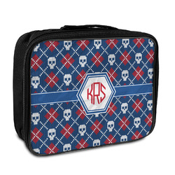 Knitted Argyle & Skulls Insulated Lunch Bag (Personalized)