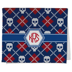 Knitted Argyle & Skulls Kitchen Towel - Full Print (Personalized)
