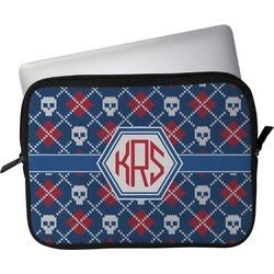 """Knitted Argyle & Skulls Laptop Sleeve / Case - 12"""" (Personalized)"""