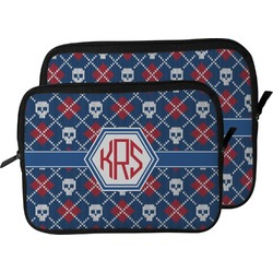 Knitted Argyle & Skulls Laptop Sleeve / Case (Personalized)