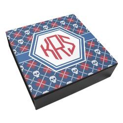 Knitted Argyle & Skulls Leatherette Keepsake Box - 3 Sizes (Personalized)