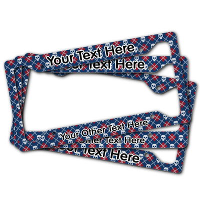 Knitted Argyle & Skulls License Plate Frame (Personalized)