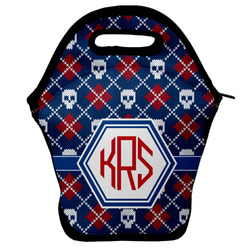 Knitted Argyle & Skulls Lunch Bag (Personalized)