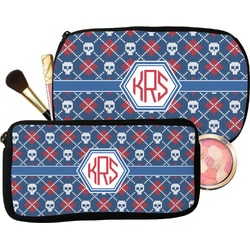Knitted Argyle & Skulls Makeup / Cosmetic Bag (Personalized)