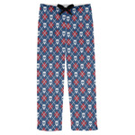 Knitted Argyle & Skulls Mens Pajama Pants (Personalized)