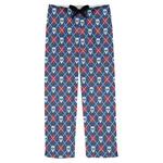 Knitted Argyle & Skulls Mens Pajama Pants (Personalized)