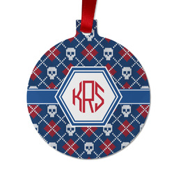 Knitted Argyle & Skulls Metal Ornaments - Double Sided w/ Monogram