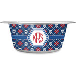 Knitted Argyle & Skulls Stainless Steel Dog Bowl (Personalized)
