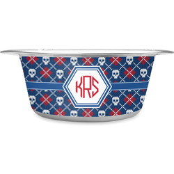 Knitted Argyle & Skulls Stainless Steel Pet Bowl (Personalized)