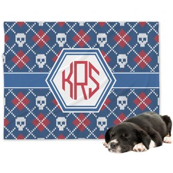 Knitted Argyle & Skulls Minky Dog Blanket (Personalized)