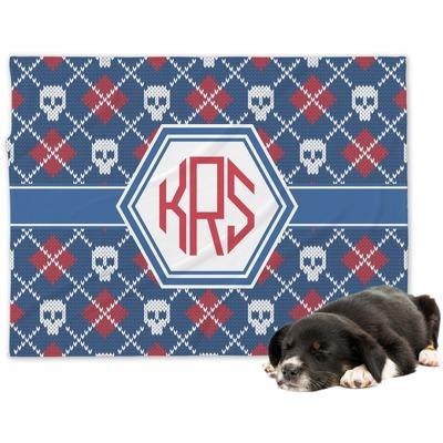 Knitted Argyle & Skulls Dog Blanket (Personalized)